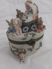 Ivy and Innocence Baby Carriage 05206 trinket box cottage, flowers, collectibles