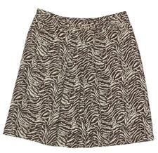 ANN TAYLOR Sexy Brown Zebra Print Skirt Pleated Chain Link Accent size 10 / 1102