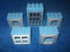 Lego Duplo Ville Ritterburg 4 X Fenster Scheibe 1 X Tür 8er Noppen Grau Blau