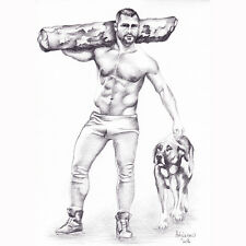 """PRINT of Original Artwork Pencil Drawing Gay Male Nude """"Man with Dog"""""""