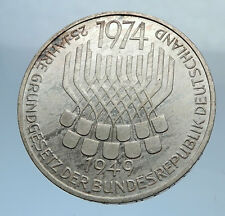 1974 F Proof GERMANY w German Federal Constitution Law Silver 5 Mark Coin i71976