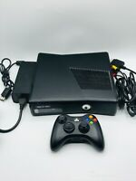 Microsoft Xbox 360 S Slim Model 1439 Black Console W/ Controller-Cords Tested