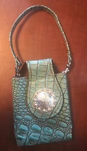 Western Leather Cell Phone Case Wristlet Strap Aqua Croco Embossed Concho