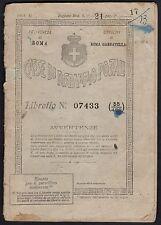 STORIA POSTALE Repubblica 1946 Libretto Risparmio Postale emesso a Roma (FB9)