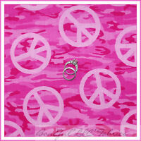 BonEful Fabric FQ Cotton Quilt PINK Girl Peace Hippie L Camo Camouflage Military