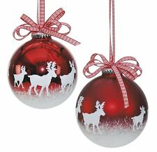 Weiste Reindeer Red & White Christmas Baubles x2  60842 NEW  21020