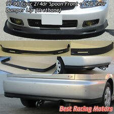 SPN Style Front + CTR Rear Bumper Lip (Urethane) Fit 99-00 Civic 2dr