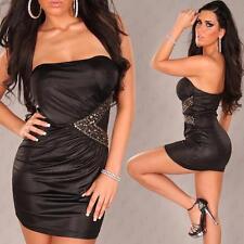 HEY SEXY!! Wet look Black Mini Dress With Rhinestone size M/L