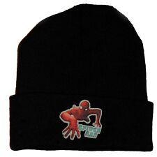 Marvel Spiderman Boys One Size Black Embossed Winter Ski Knit Hat Beanie NEW
