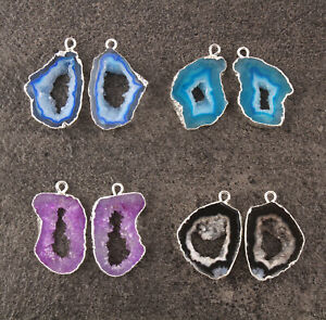 Handmade Geode Slice Druzy Silver Plated DIY Earring Pairs Connector Lot 4 Pcs