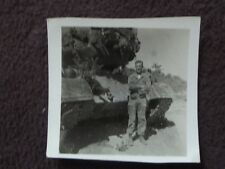 WW2 AMERICAN SOLDIER STANDING IN FRONT OF HIS TANK  Vtg 1940's PHOTO