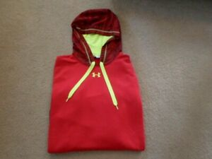 UNDER ARMOUR HOODED SWEATSHIRT     RED  NEON YELLOW    LOOSE   MENS SIZE XL