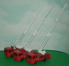 Three 1/64 Scale Fire Dept Ladder Truck Diecast Emergency Vehicles  - SunToys