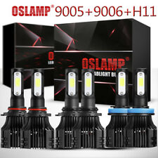 6PCS 9005+9006+H11 COB LED Headlight Bulbs High Low + Fog Light Kit 6500K White
