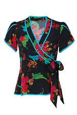Nanette Lepore Women's Blouse Black Size 12 Floral Print Wrap Silk $348- #081