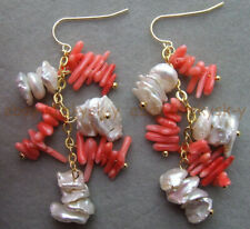 Natural Pink Coral Chip & White Baroque Pearl Dangle Gold-plated Hook Earrings