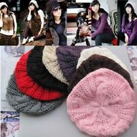 Women Fashion Pure Color Winter Slouch Ski Crochet Knit Slouchy Beanie Beret Hat