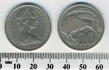 New Zealand 1974 - 20 Cents Copper-Nickel Coin - Queen Elizabeth II - Kiwi bird
