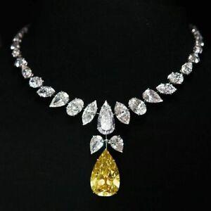 Wedding Necklace for Women's Yellow Teardrop Multi-shape CZ 925 Sterling Silver