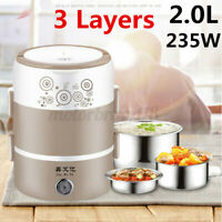 3 Layers 2.0L Electric Rice Cooker Heating Lunch Box Food Warmer Meal Container