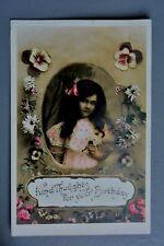 R&L Postcard: Greetings, Birthday, Ettlinger, Very Pretty Floral Card, Girl
