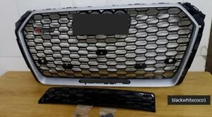 For 2017-2018 Audi A4/S4 B9 RS4 Style Honeycomb chrome Mesh Hex Grille W/Quattro