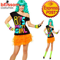 K72 80s' Party Girl T-shirt Costume Ladies 1980s 80s Fancy Dress Up Top Shirt