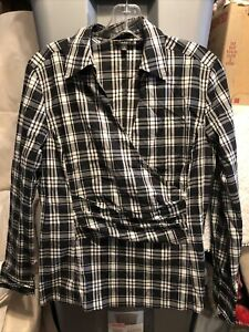 talbots plaid womens long sleeve shirt size 8 Black/white