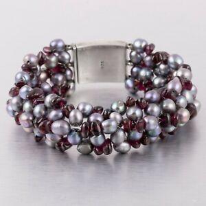 "925 Sterling Silver Tahitian Pearl & Garnet Cluster Box Clasp Bracelet 7.5"""
