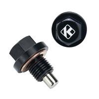 Oil Pan Drain Plug Bolt Aluminum M12 x 1.25 Engine MagneticWith Washer Black