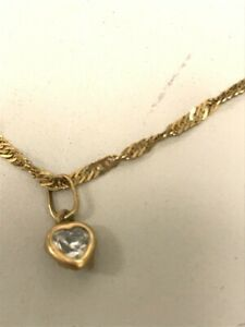 "375 Hallmarked Yellow Gold 10"" Twisted Curb Ankle Chain Heart Crystal Charm 1.24"