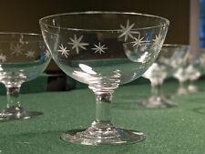 Vintage Crystal Star Dust Starburst Low Sherbet Glasses Midcentury Atomic Set 4