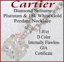 CARTIER DIAMOND SOLITAIRE PENDANT NECKLACE ~ GIA  1.01ct  D  INTERNALLY FLAWLESS