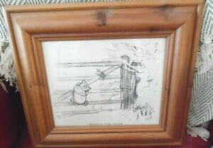 Winnie The Pooh & Piglet On The Gate Sketch Drawing Wood Frame E H Shepherd 38x3