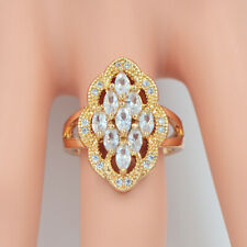 Fashion Women Gold Plated Clear Cubic Zirconia CZ Cocktail Ring Jewelry
