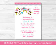 Girl Owl Printable Baby Shower Invitation Editable PDF