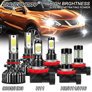 For Nissan Rogue 2008-2013 - 6000K H11 9005 LED Headlight + Fog Light 6x Bulbs