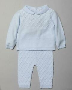 Baby boys Spanish style cable knitted 2 piece set  0-3 3-6 6-12 months