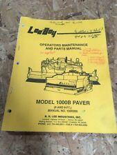 Leeboy Model 1000b Paver Operators Maintenance And Parts Manual
