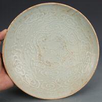 "Old Chinese song ding kiln white glaze Porcelain hand carved dragon bowl 8.1"""