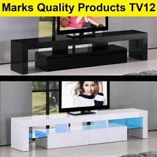 TV Cabinet 190cm White or Black Entertainment Unit Stand Gloss LED Shelf TV12