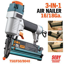 3-IN-1 Air Nailer Nail Gun Stapler Pneumatic Frame Floor Furniture F50 T50