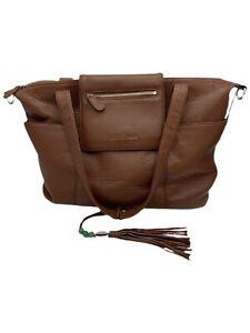 Lily Jade Madeline Camel & Gold Leather Diaper Bag / Backpack / Organizer