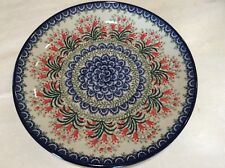 """NEW C.A. POLISH POTTERY 10.5"""" Dinner Plate- Crimson Red Bells"""