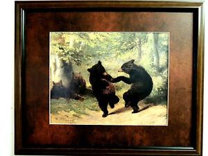 DANCING BEARS PICTURE W.H. BEARD 1865 BLACK BEARS MATTED FRAMED 16X20