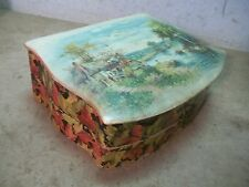 Old Celluloid Covered lid Dresser Box with Cottage & Boating Scene