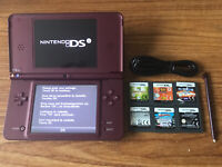 Nintendo DSi XL Burgundy Handheld System Console Bundle +6 Games & Charger
