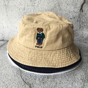 Polo Hat Embroidery Stripe Bear Men's Bucket Hat Vintage Beige Cap Beach Sun