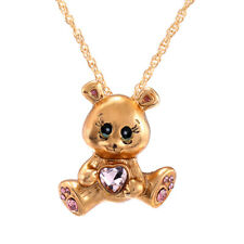 Fashion Red Heart Crystal Teddy Necklace Pendant Wedding Party Jewelry Gift