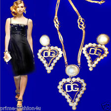 Dolce & Gabbana Antique Brass Pearl Embellishment Heart Necklace Earrings Set